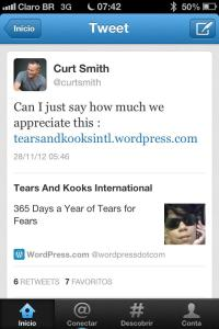 We are very happy that the band appreciates the fan teams. We received a tweet from Good Man Curt Smith.