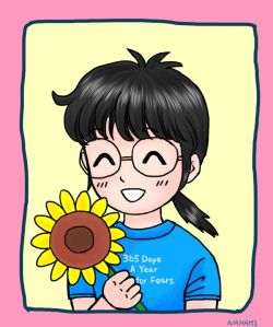 Manami animates herself wearing the 365 TFF shirt she bought for tour 2012.