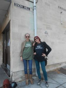 Angie and Kath pose for pictures in the their travel fan tshirts - Location: Snow Hill, Bath UK (England)