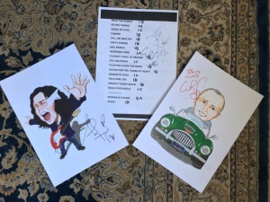 Autographed set lists made into art (Brasil Fan Team). Contact Marcio for info.