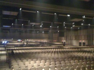 From a Kelly Clarkston fan... photos of a 2012 concert set up, 2013/14 shows black chairs that are much wider than these.