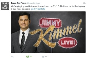 Tears for Fears will appear on Jimmy Kimmel 12 November.