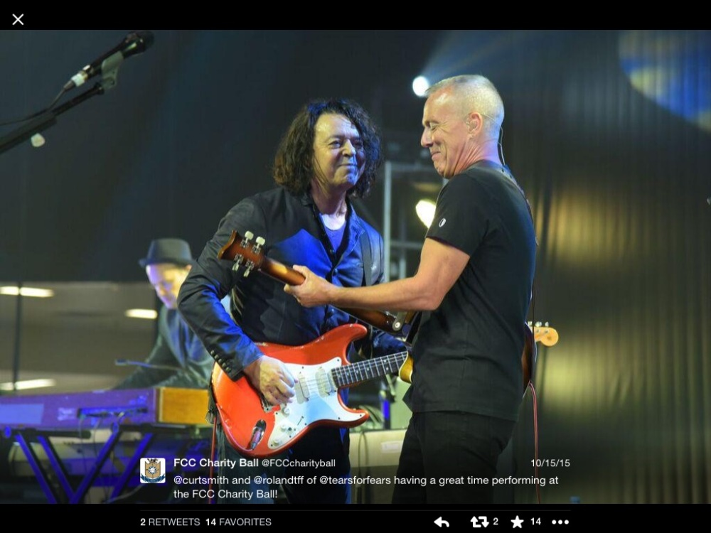 Cute photo of the Good Sir and the Good Man rockin' out on stage. #GoodTimes